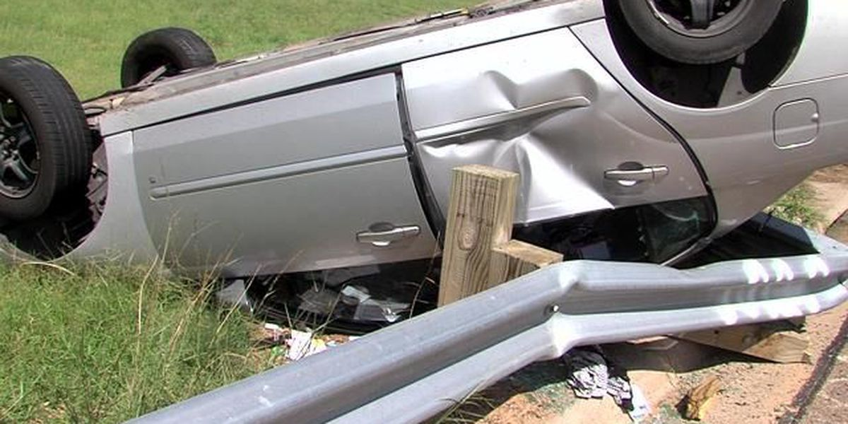 Single vehicle rollover sends one woman to hospital