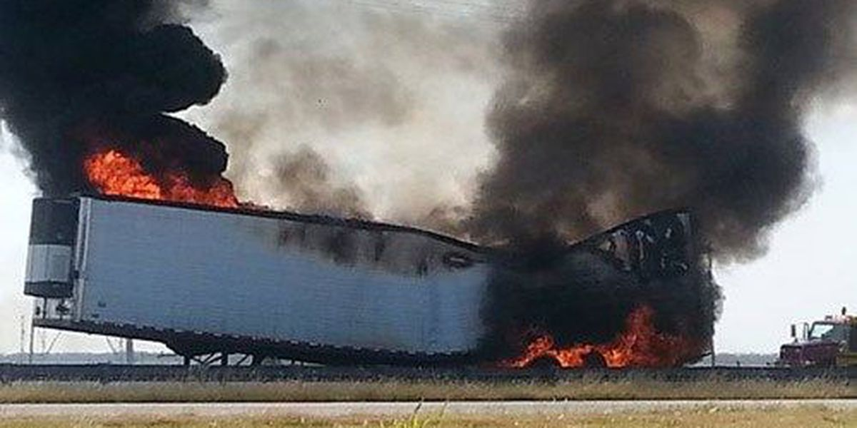Semi-trailer loaded with onions catches fire