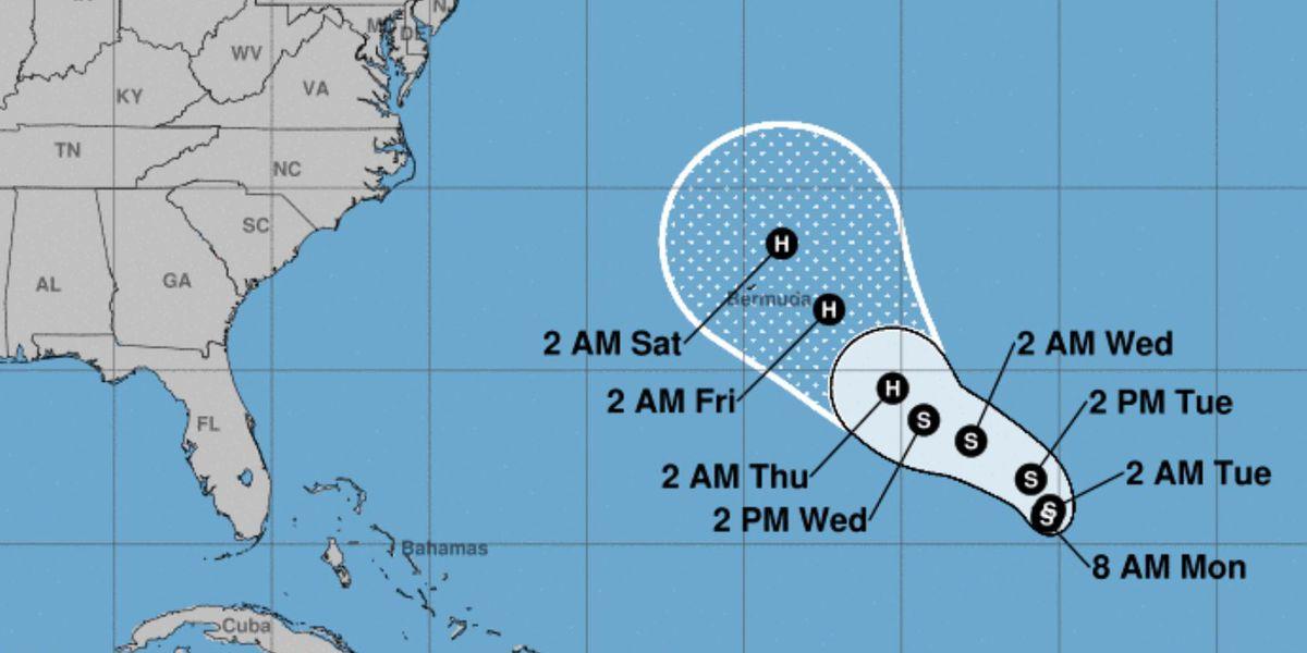 Tropical Storm Epsilon forms in the central Atlantic