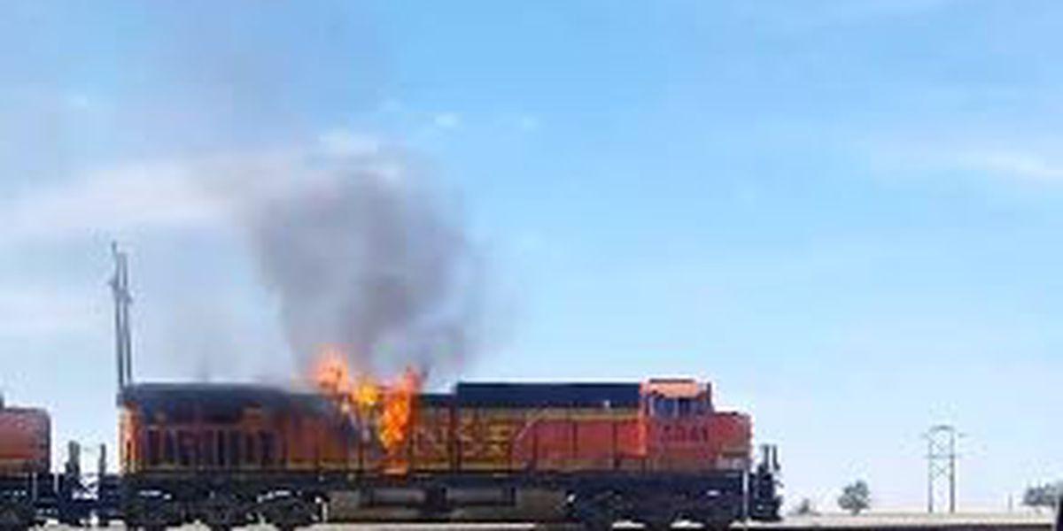 Train catches fire near Clovis