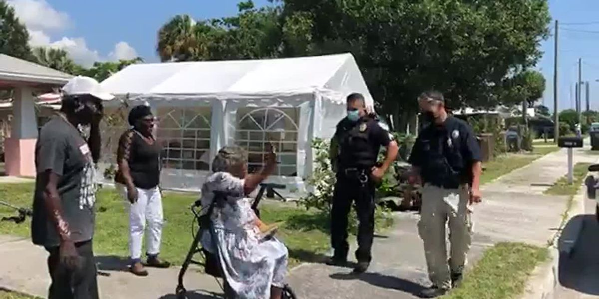 'Police activity! Birthday in progress': Officers help woman celebrate her 100th