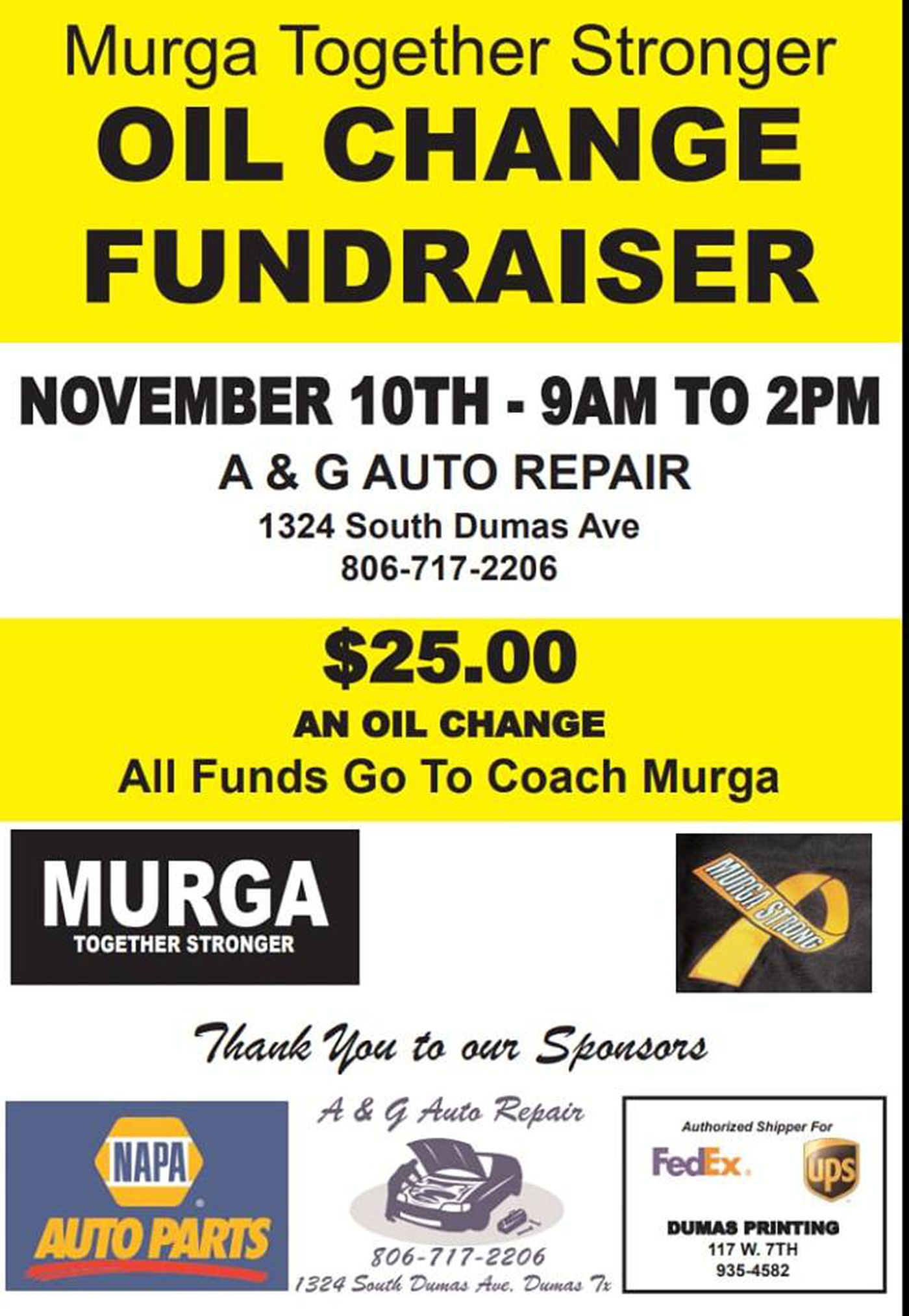 Auto repair shop to hold oil change fundraiser for Dumas coach