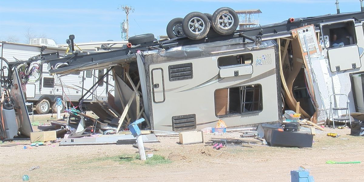Campers at Palo Duro Canyon Adventure Park campsite continue clean up after damage from weekend storm