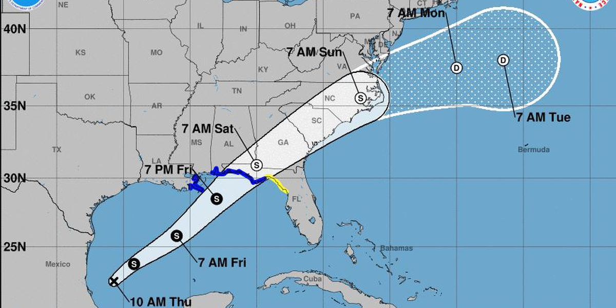 Hurricane Center: Tropical storm likely along Gulf Coast