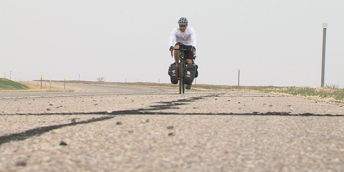 Man makes stop in Amarillo while cycling across U.S. for a cause