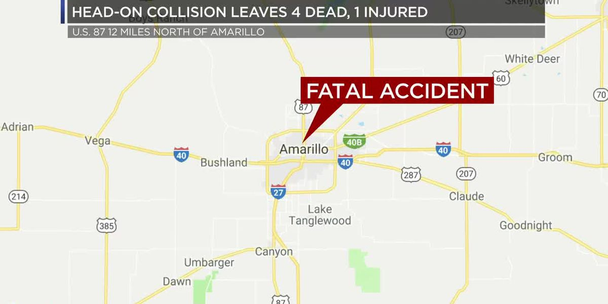 Head-on collision leaves 4 dead, 1 with life-threatening injuries