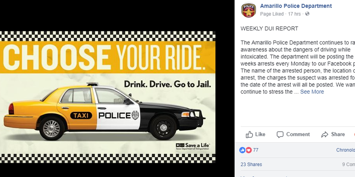 Amarillo Police introducing new weekly report, posting names of DWI arrests on Facebook