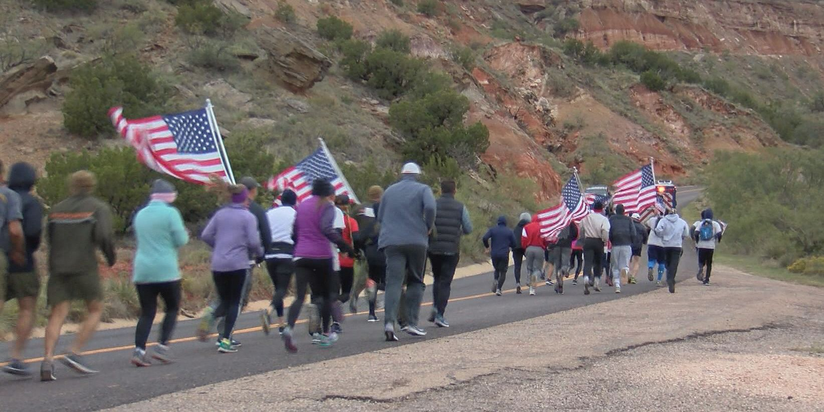 Flag Run in Palo Duro Canyon honors those who fought in WWII battle