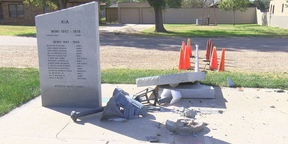 Claude war memorial damaged, officials searching for suspect
