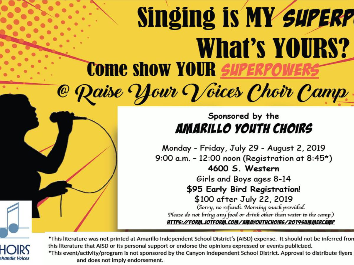 Amarillo Youth Choirs hosting Raise Your Voices Choir Camp