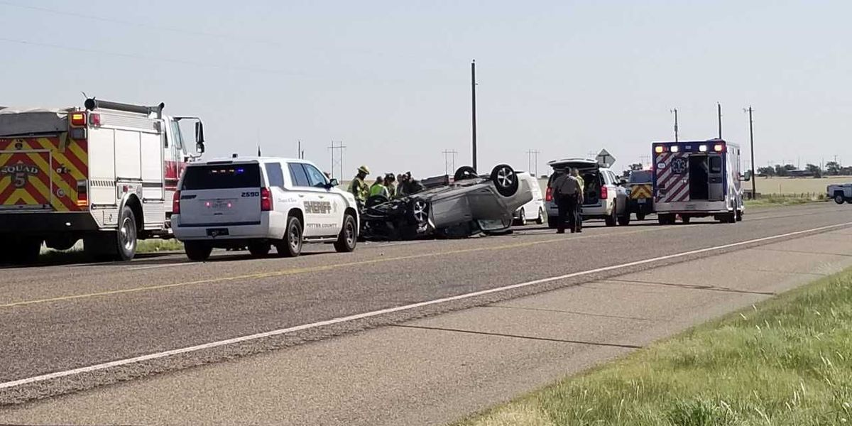 1 hospitalized after collision involving semi-truck and car