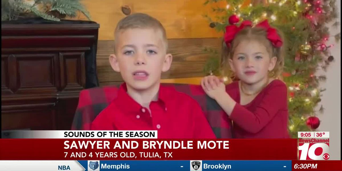 Sounds of the Season: Sawyer and Bryndle Mote sing 'The First Noel'