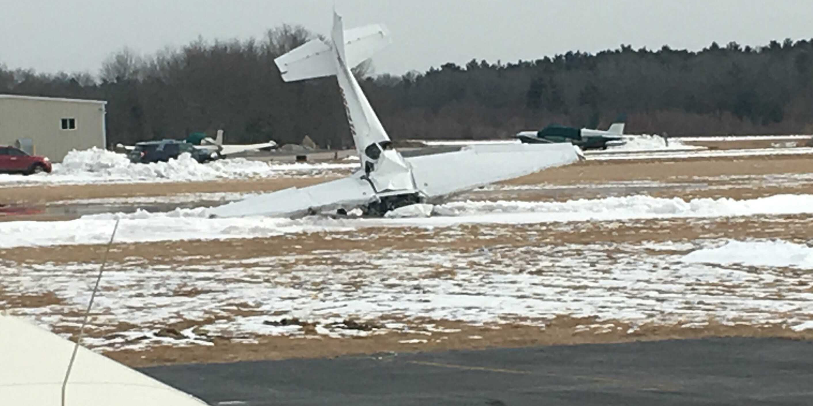 Small plane crashes at airport; instructor and student die