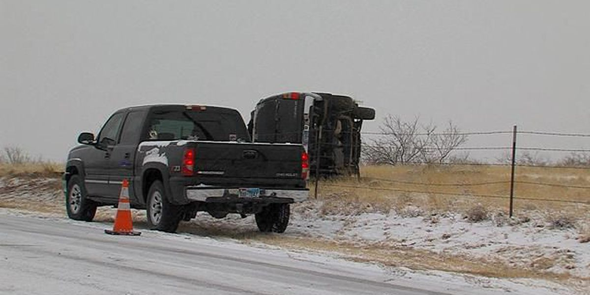 Slick road conditions cause several wrecks