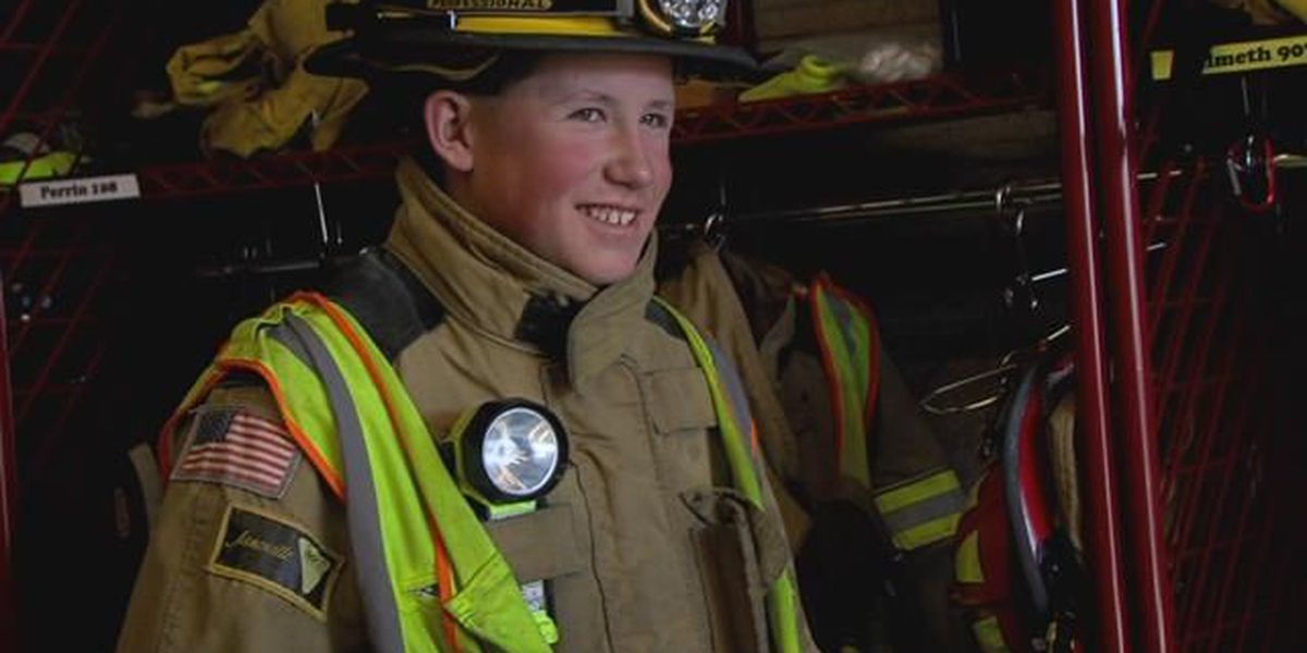 14-year-old firefighter helps out at Bushland semi crash