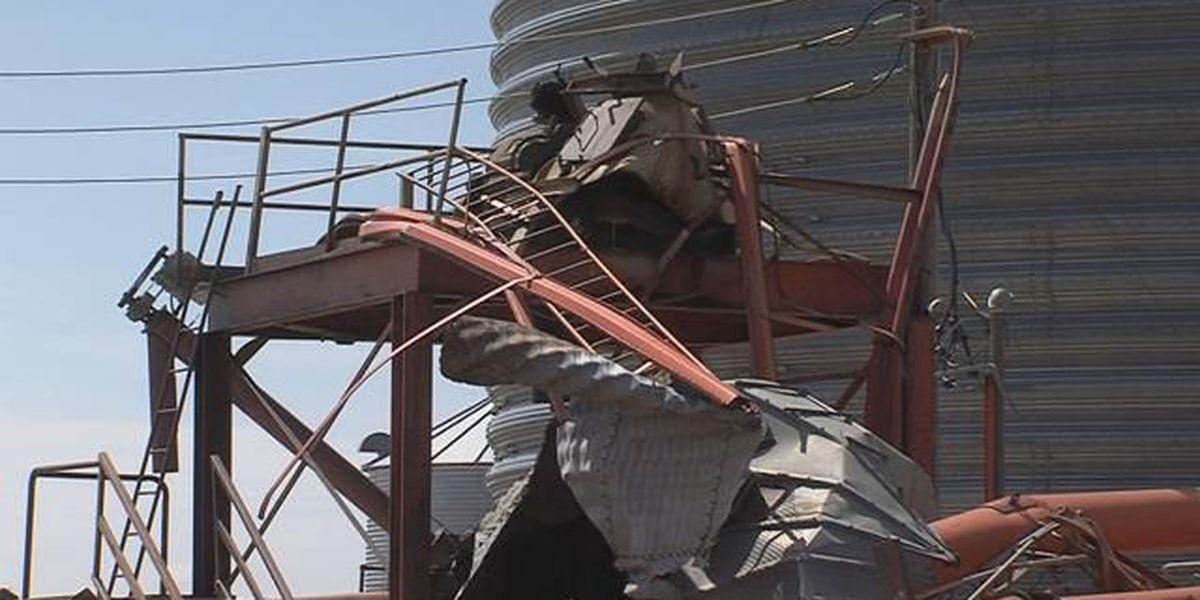 Winds tear apart grain elevators near Dalhart