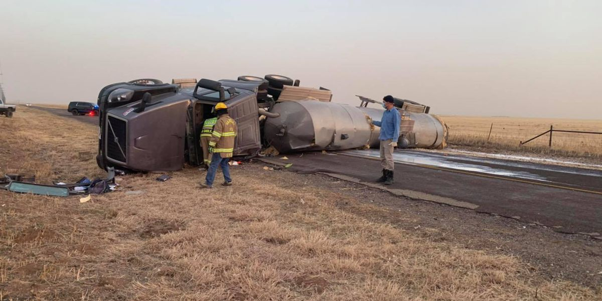 Dalhart Volunteer Fire Department responded to semi-truck rollover on FM 807
