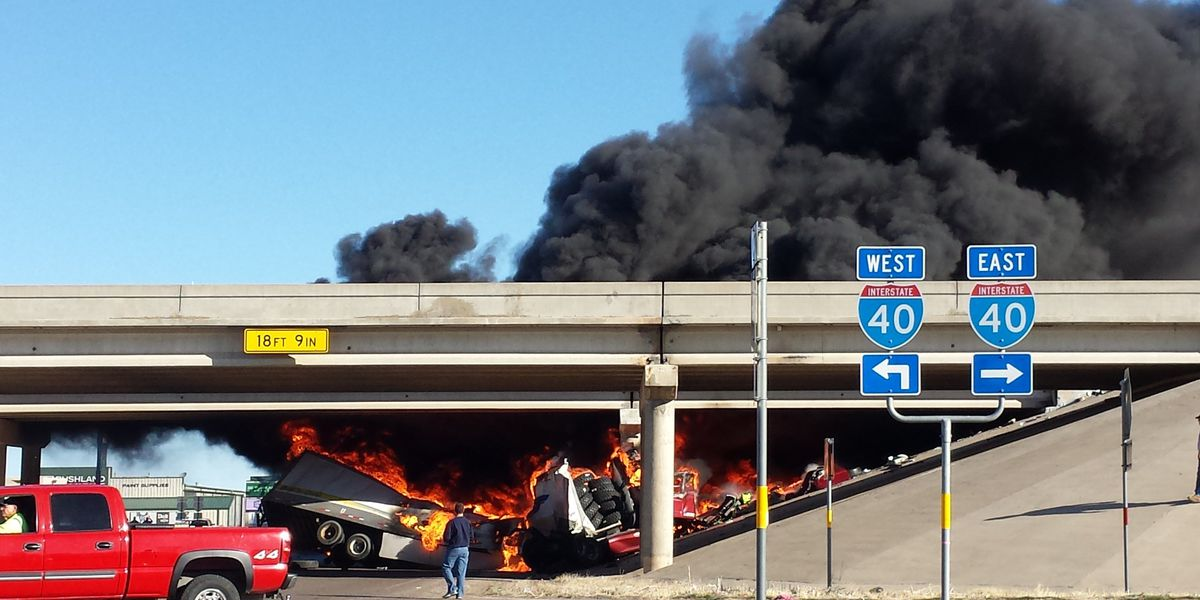 UPDATE: Fiery crash kills one person after tractor-trailerplummets into I-40 and Bushland overpass bridge