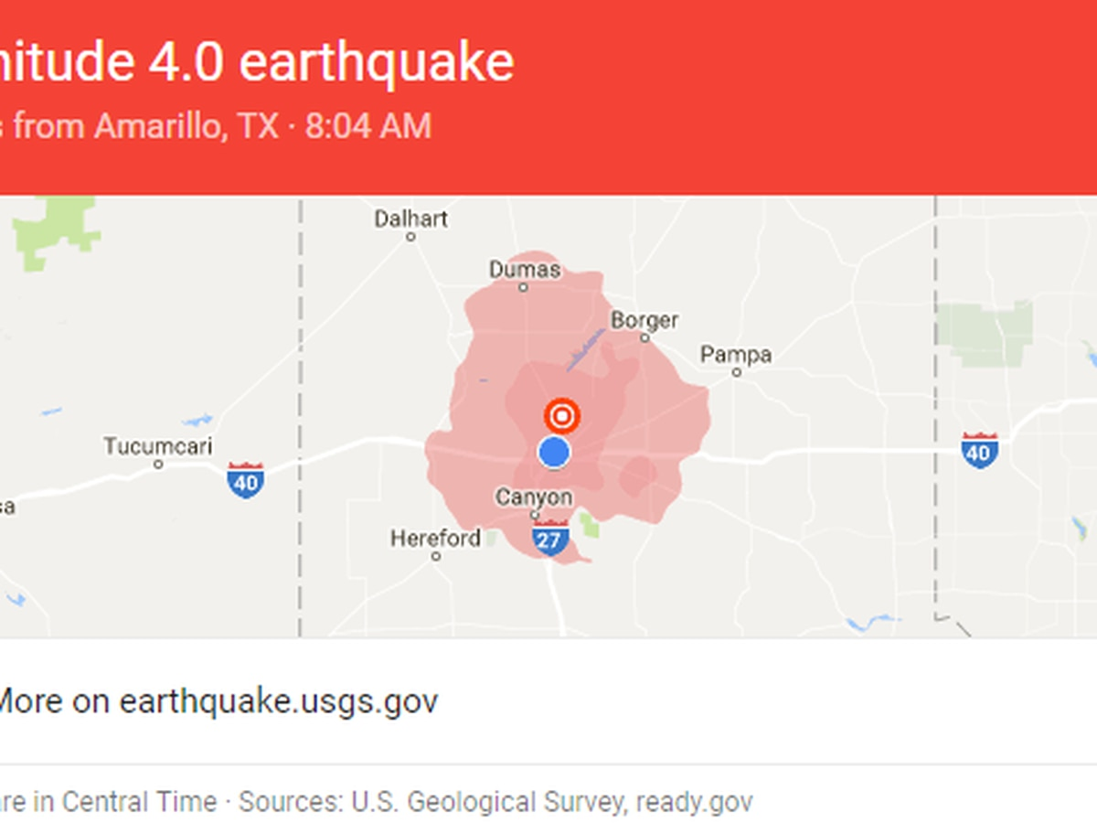 Magnitude 4.0 earthquake north of Amarillo shakes the Panhandle