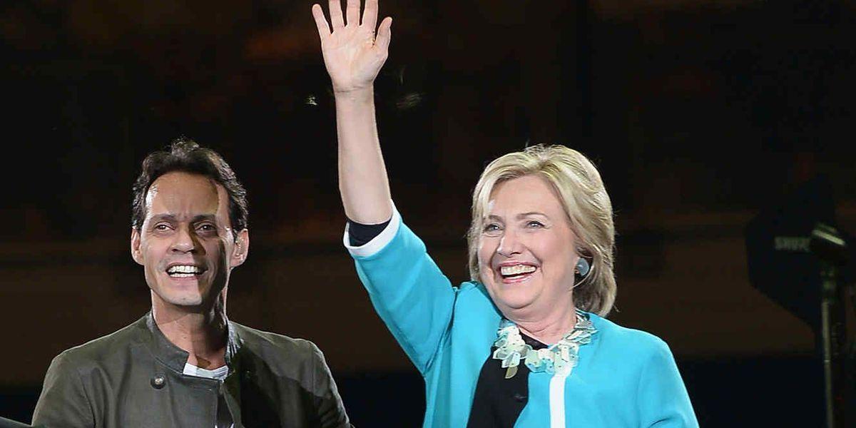 Hillary Clinton apareció de sorpresa en el concierto de Marc Anthony