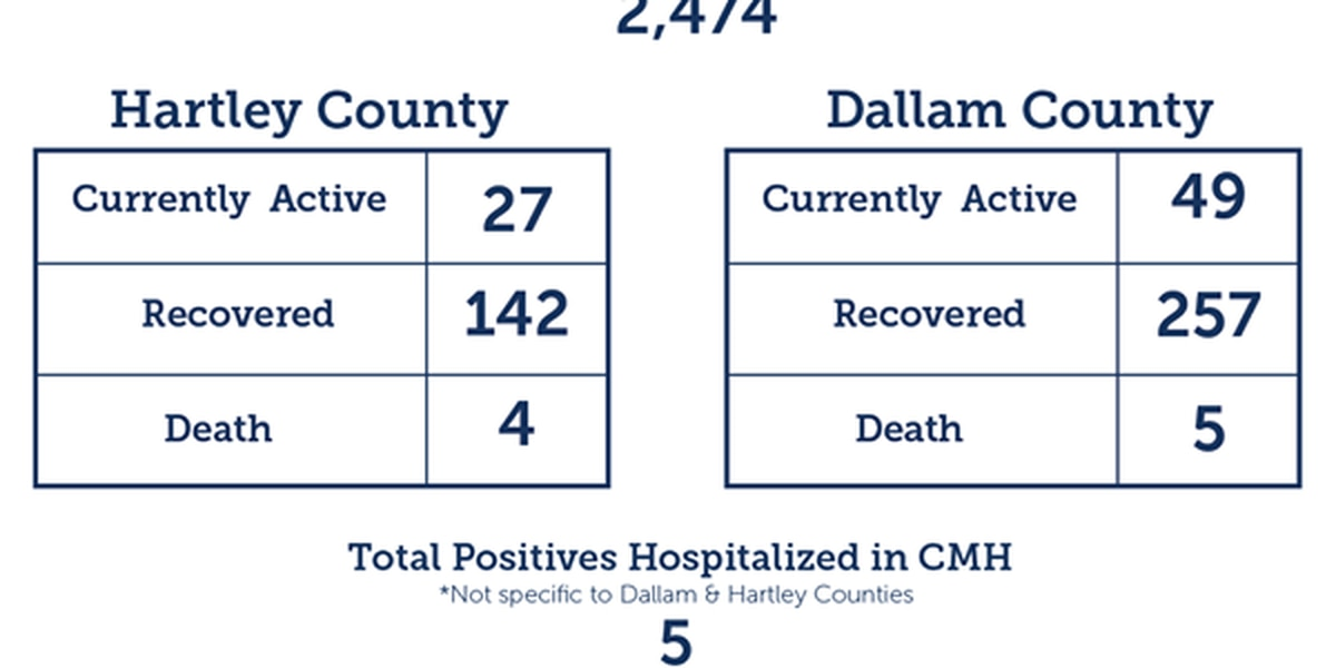 10 new COVID-19 cases, 3 new recoveries in Dallam and Hartley counties