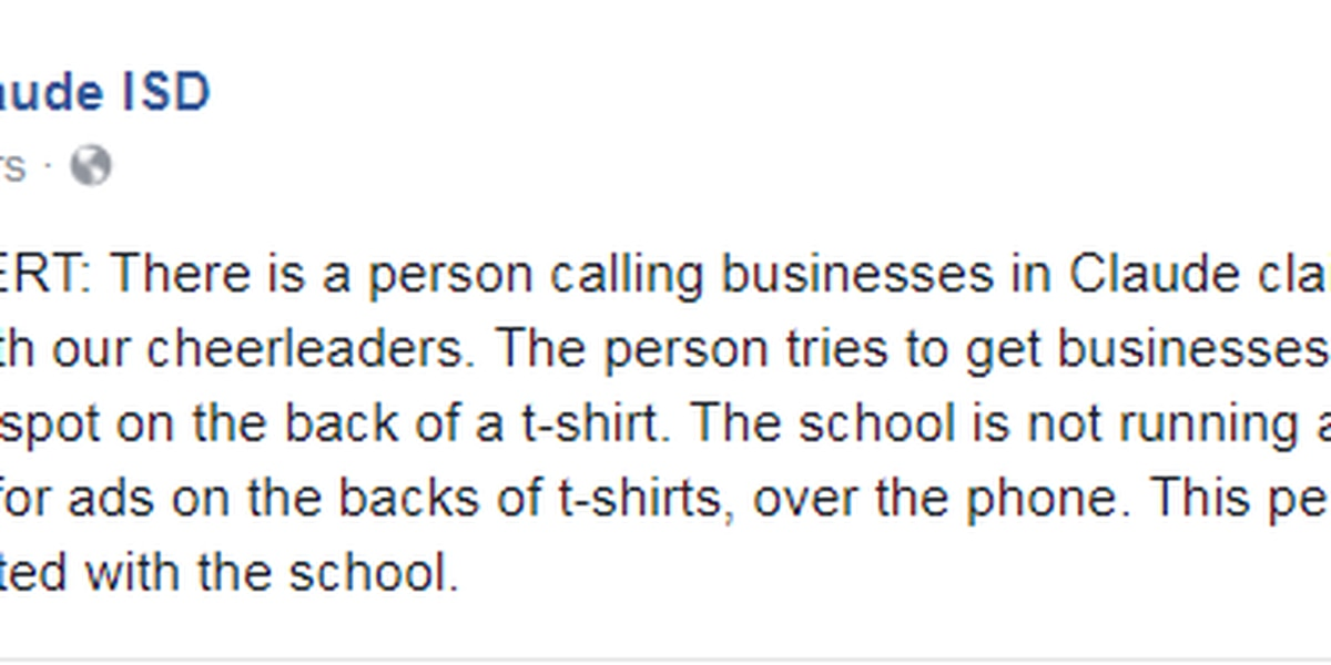 Claude ISD alerting residents to t-shirt sales scam