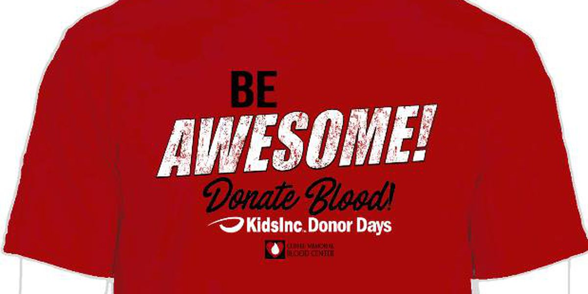 Save a life and help an area school and student at the 10th Annual Kids Inc Donor Days Blood Drive
