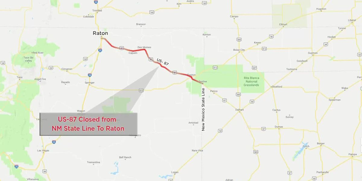 US 87 closed from NM state line to Raton due to weather conditions