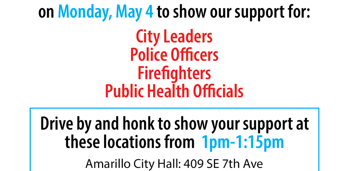 Community members invited to show support for city leaders, health officials, first responders during a parade