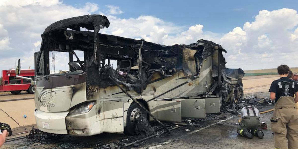 Family safe after RV catches fire on I-27