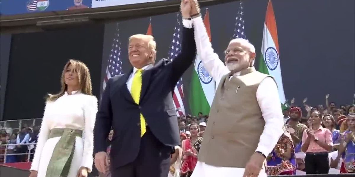 Trump visits world's largest cricket stadium for event with Indian prime minister