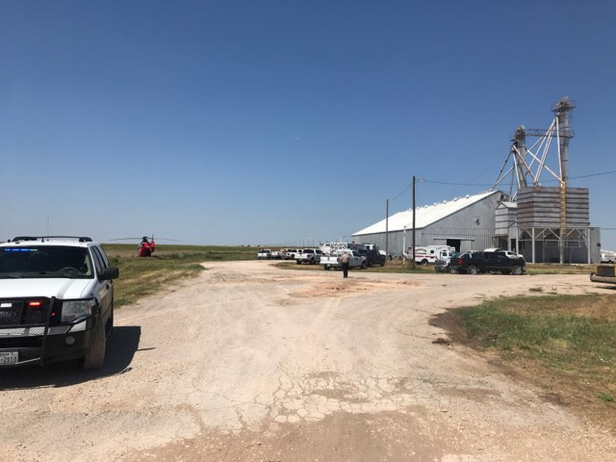 Crews working to rescue person trapped in grain bin west of Hereford