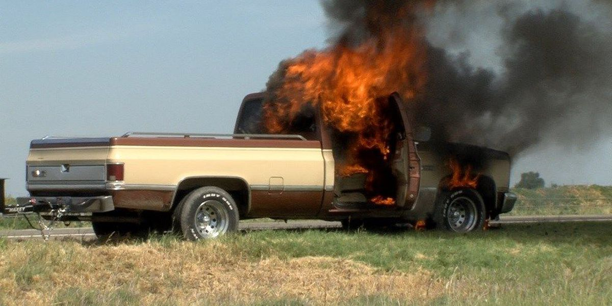 Truck catches fire on I-27