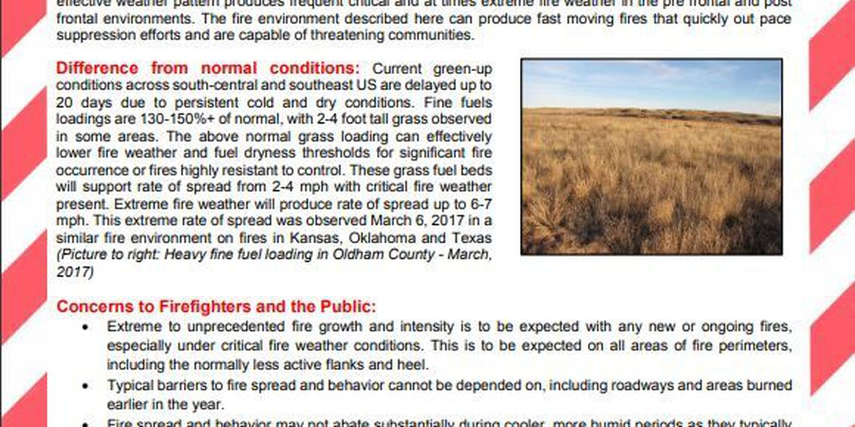 Fuels & Fire Behavior Advisory issued for multiple states due to extreme fire risk