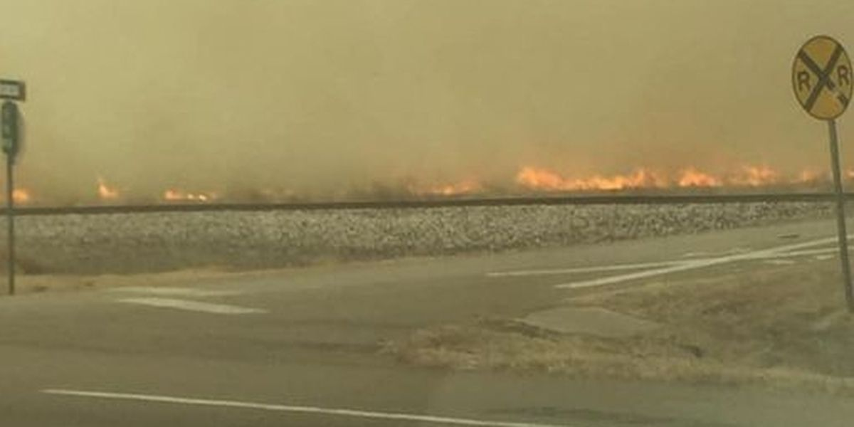Firefighters working to contain fire on Highway 54 near Goodwell