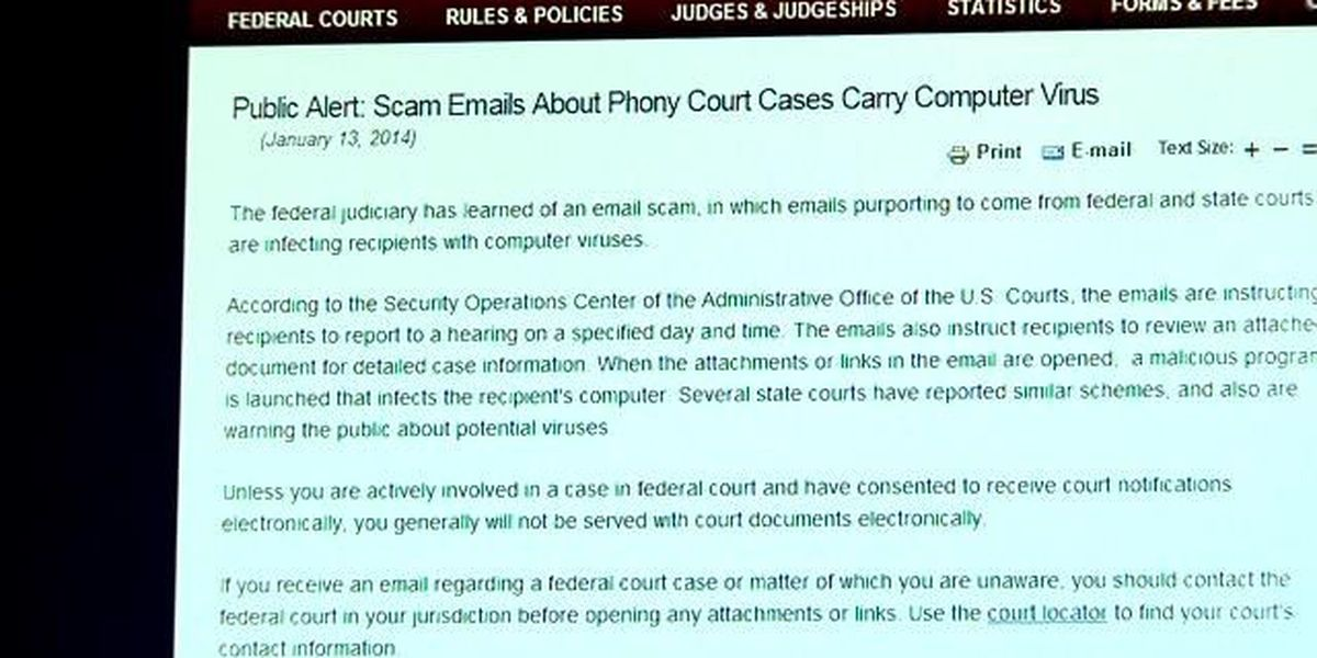 US Courts warn against email scam