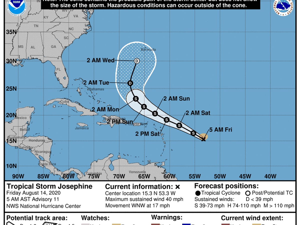 Tropical Storm Josephine remains weak in Atlantic Ocean