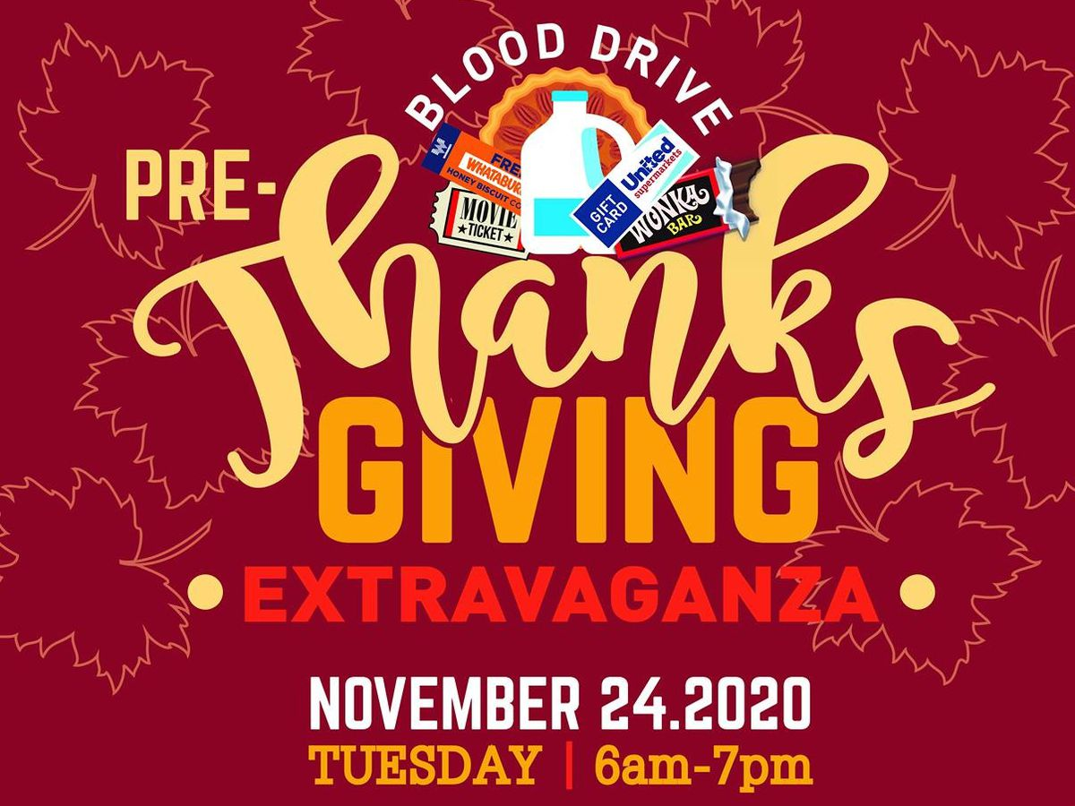 Coffee Memorial Blood Center hosting Pre-Thanksgiving Extravaganza Tuesday