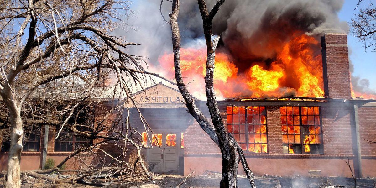 Old school building burns in Donley County