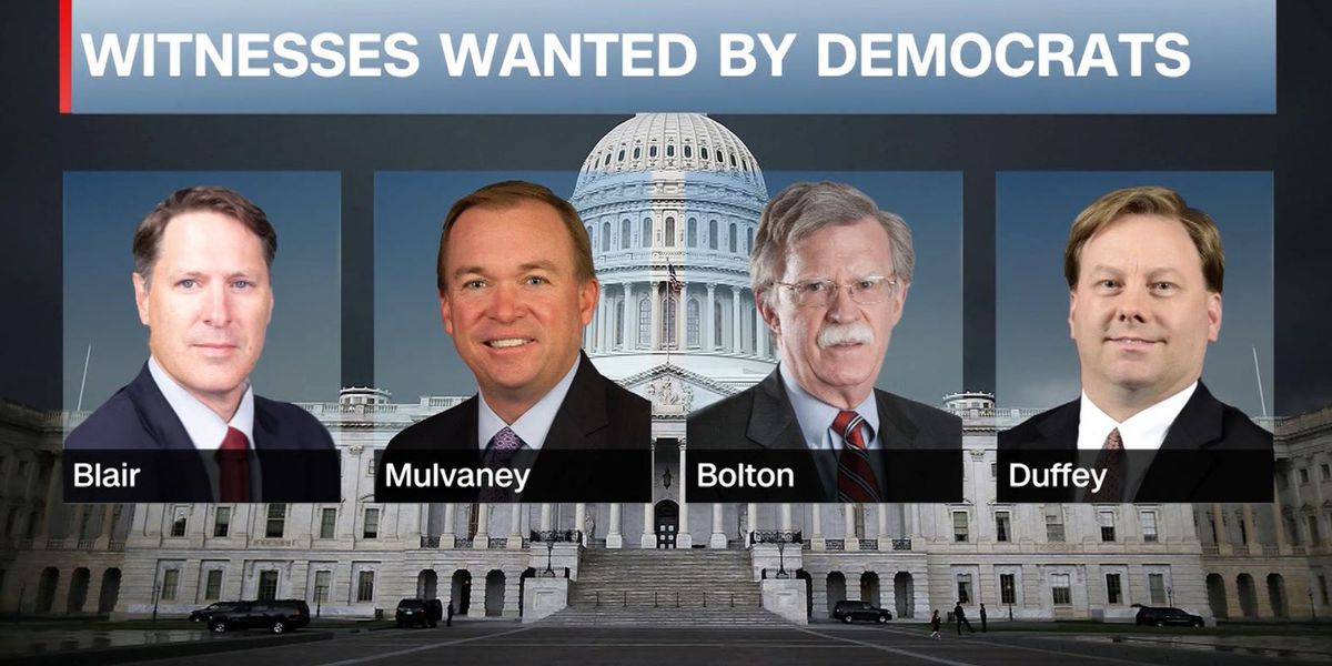 Democrats seek Bolton, Mulvaney for impeachment trial