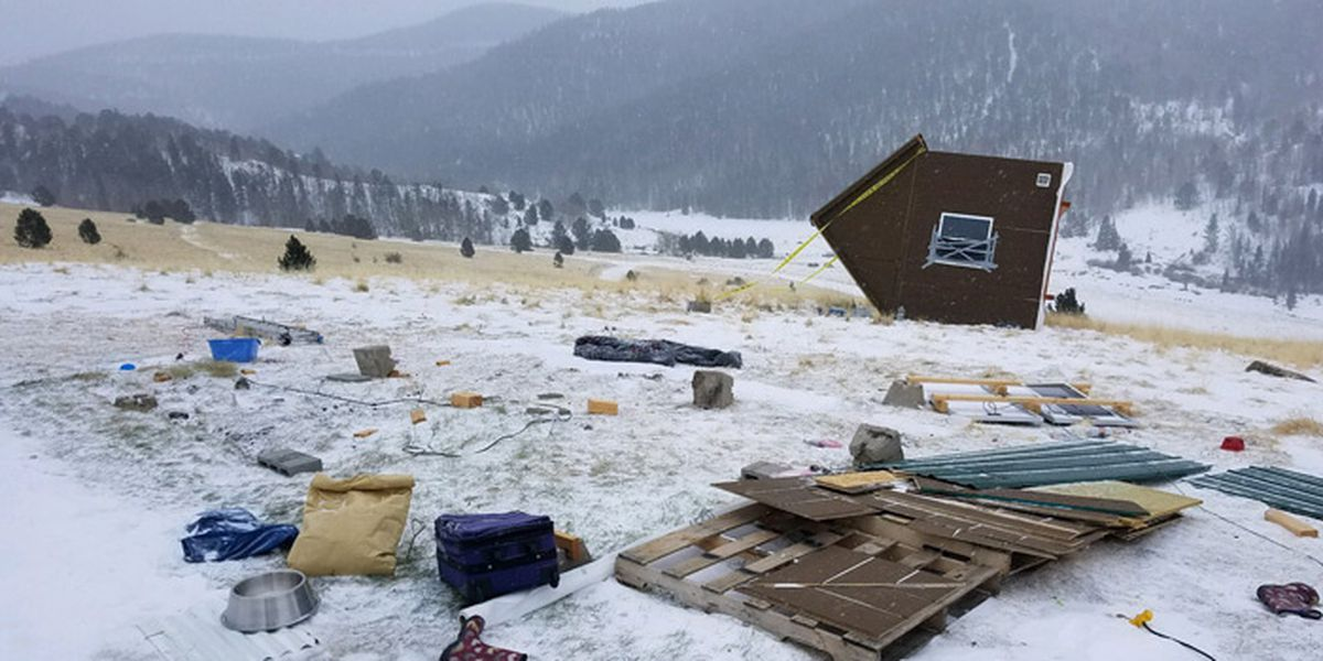 Blizzard-force winds topple tiny house in Colorado