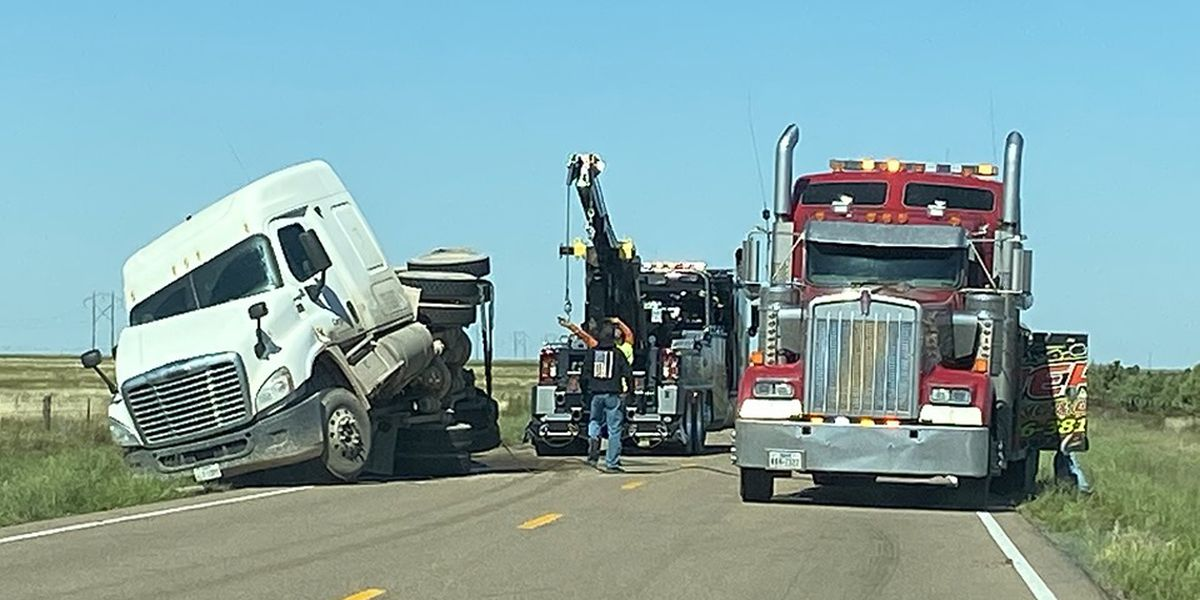Driver injured, 1 cow dead after semi overturns in Randall County