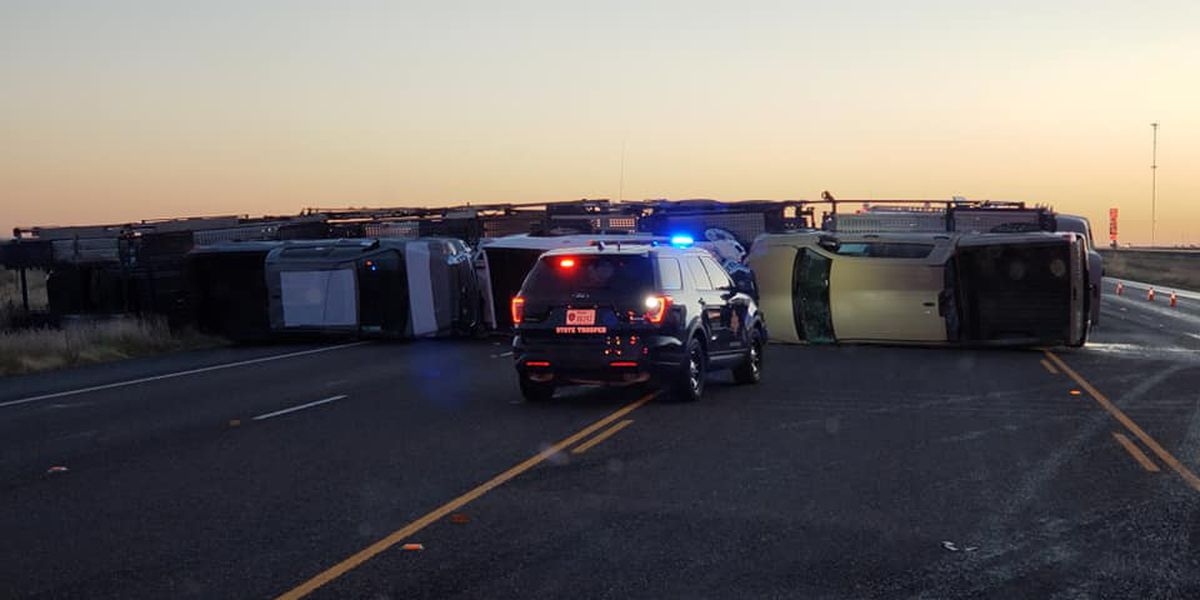 1 person hospitalized after Monday morning crash involving semi and pickup