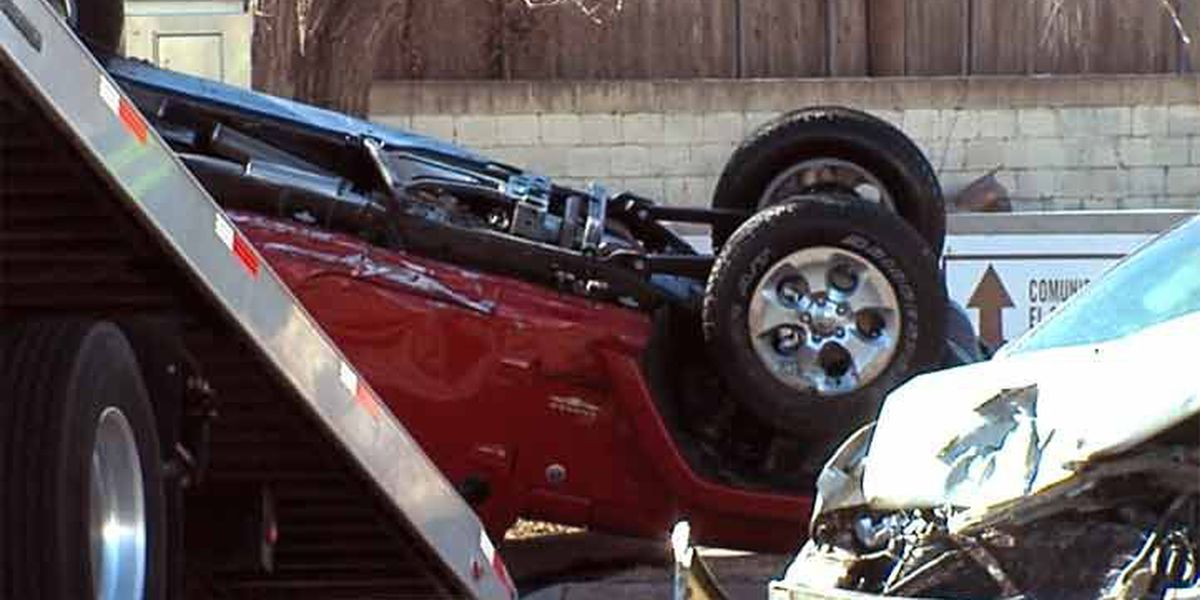 SUV rolls over in wreck near downtown
