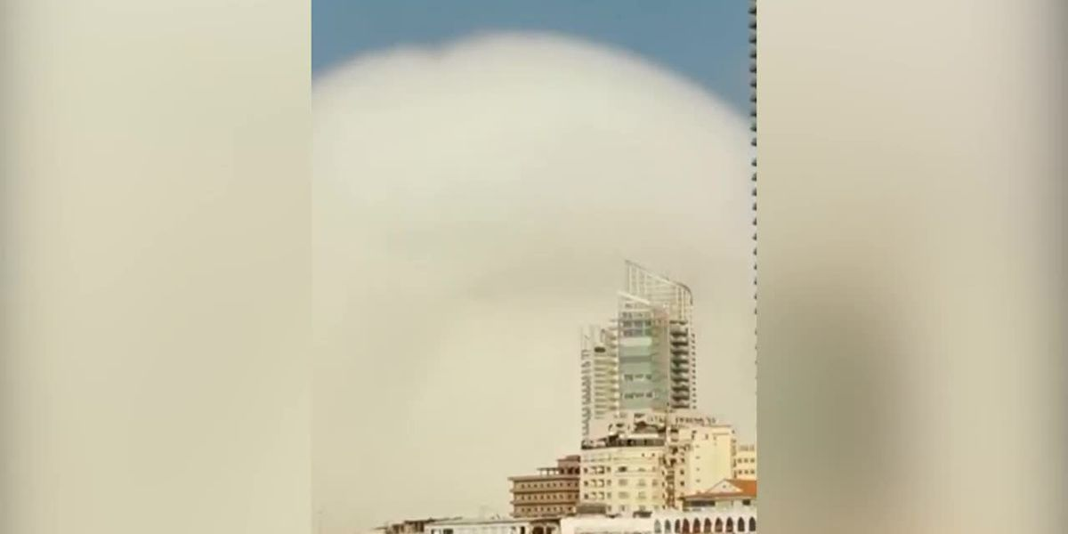 View of massive explosion in Beirut, Lebanon