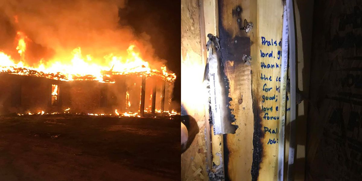 Fire destroys house, stops at scriptures written on studs