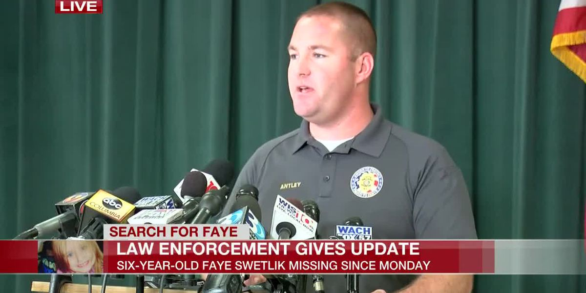 Thursday 10:45 AM: S.C. officials share update on search for missing 6-year-old Faye Swetlik
