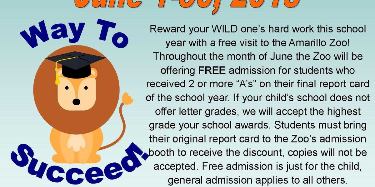 Amarillo Zoo offering free admission for students with A's